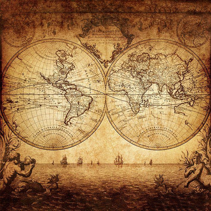 baskılı fon perde 1733 vintage dünya harita desenli