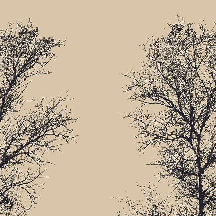 baskılı fon perde ağaç iki dal desen siyah krem rengi