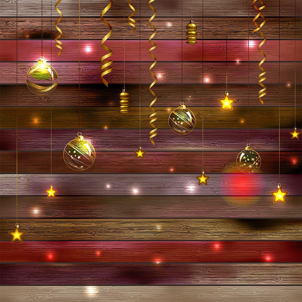 baskılı fon perde ahşap desenli noel yılbaşı parti temalı kırmızı