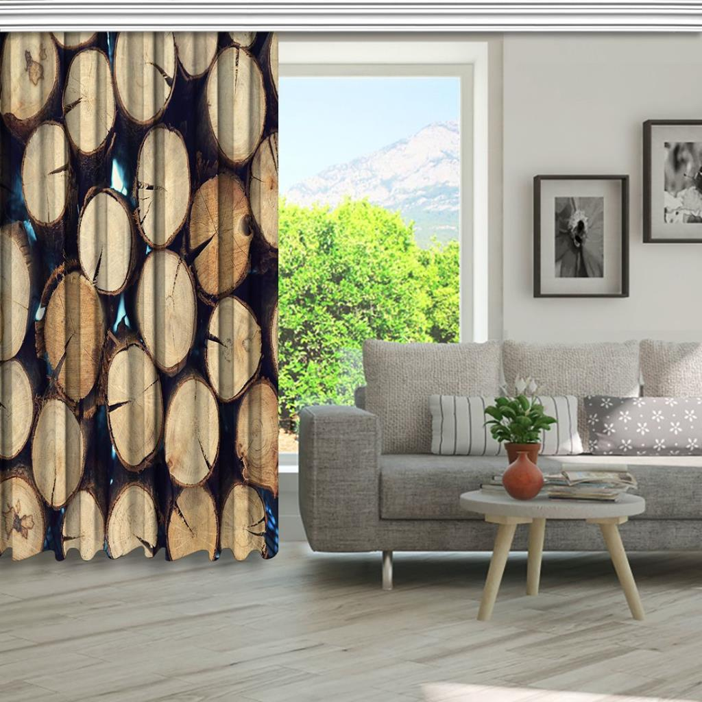 baskılı fon perde ahşap kökenli kahverengi küçük ağaç desenli