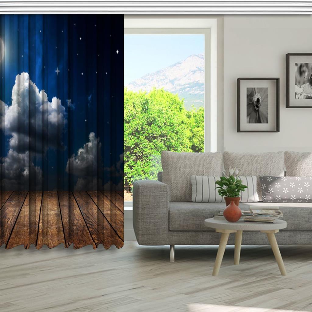 baskılı fon perde ahşap masa bulut ay desenli kahverengi