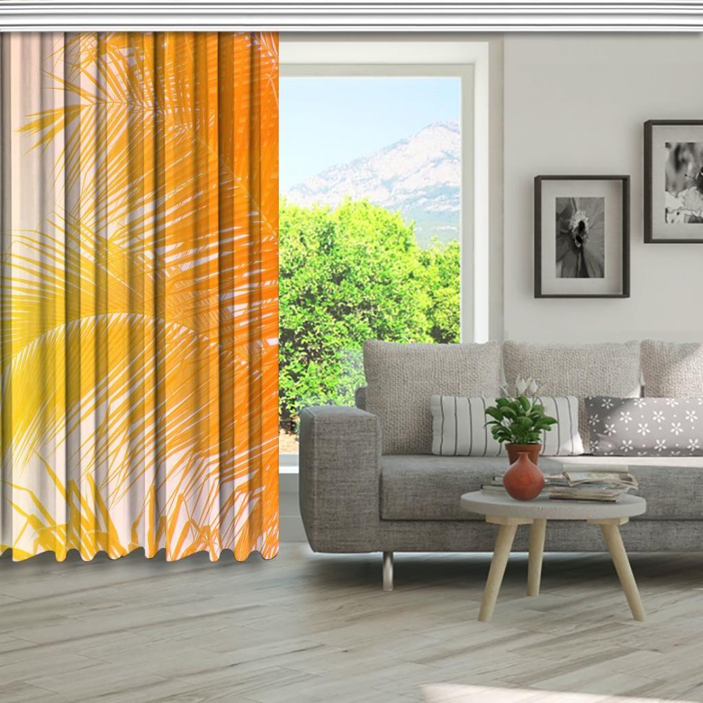 baskılı fon perde akşam güneşi hindistan cevizi ağac desenli