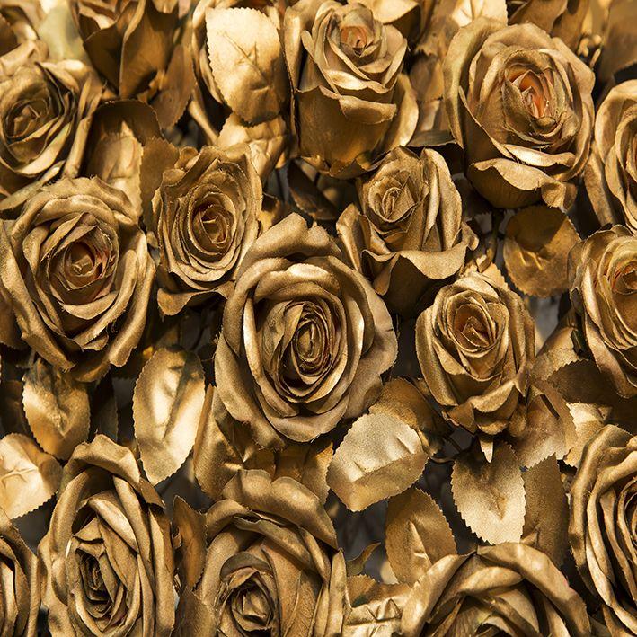baskılı fon perde altın renkli gül desenli