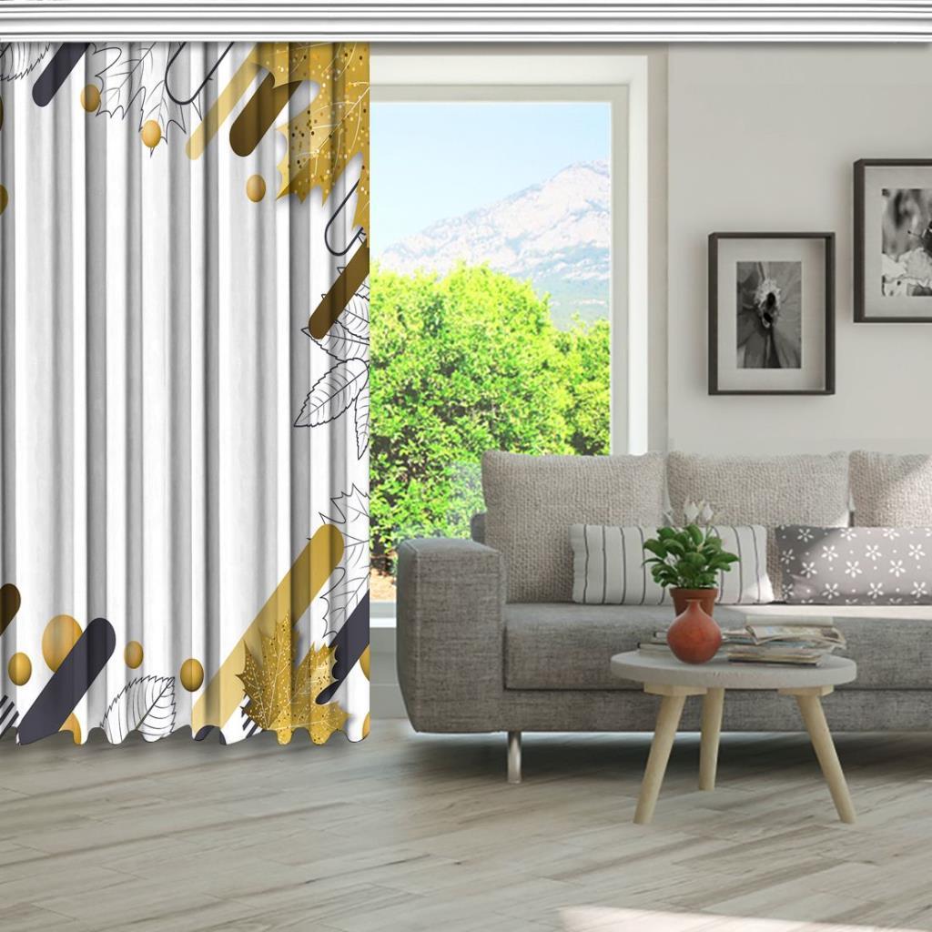 baskılı fon perde altın sonbahar yapraklı geometrik desenli