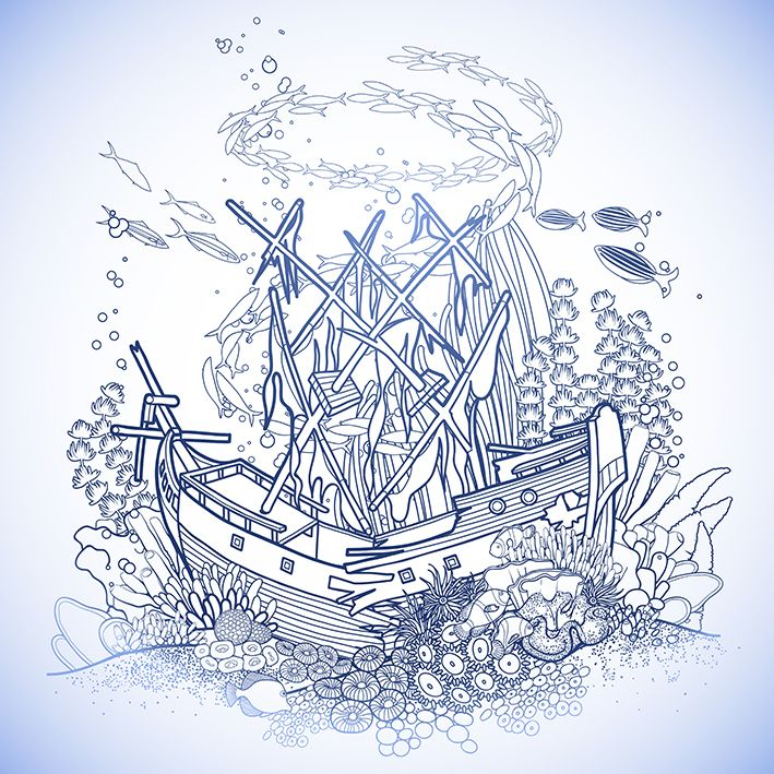 baskılı fon perde antik gemi mercan kayalık okyanus balık desenli
