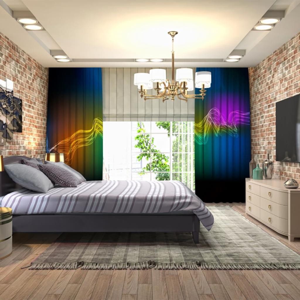 baskılı fon perde arka plan renkli parlak eğri çizgi desenli