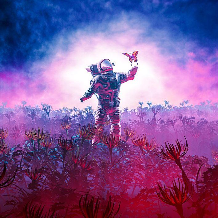 baskılı fon perde astronot kelebek doğa desenli mor mavi