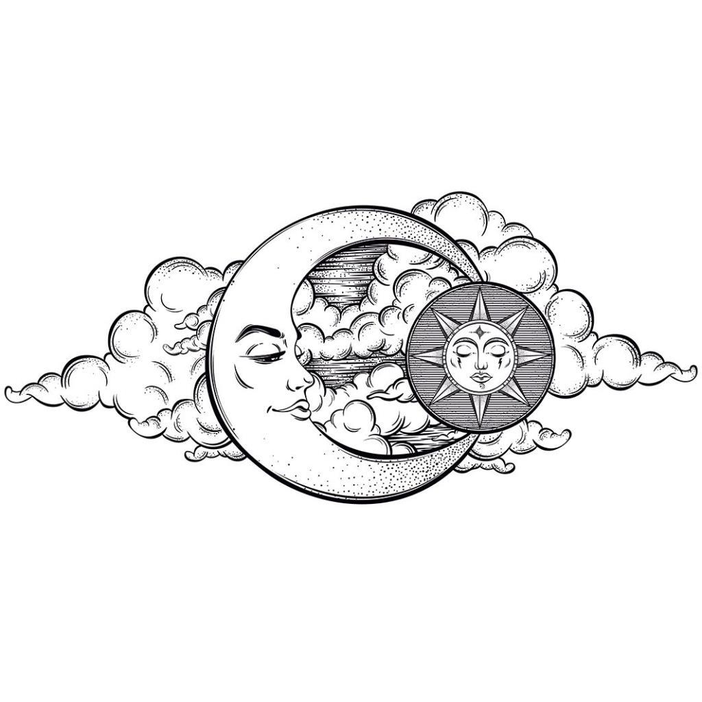 baskılı fon perde ay güneş gece gökyüzü desenli beyaz siyah