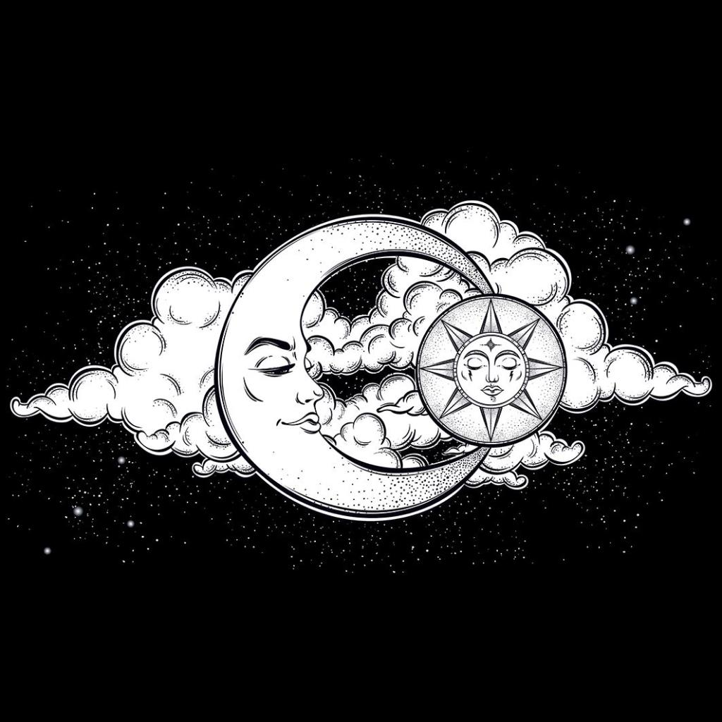 baskılı fon perde ay güneş gece gökyüzü desenli siyah beyaz