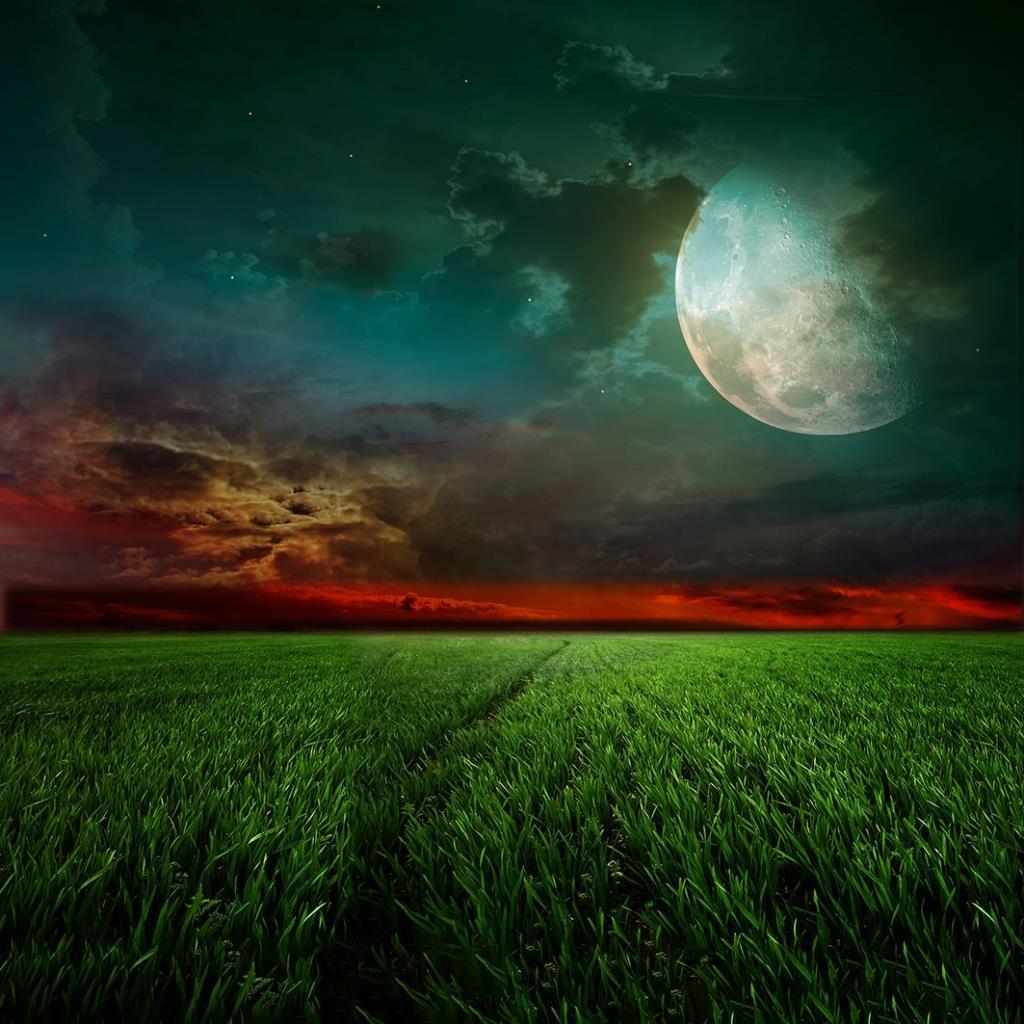 baskılı fon perde ay ışığı ile gece manzara desenli