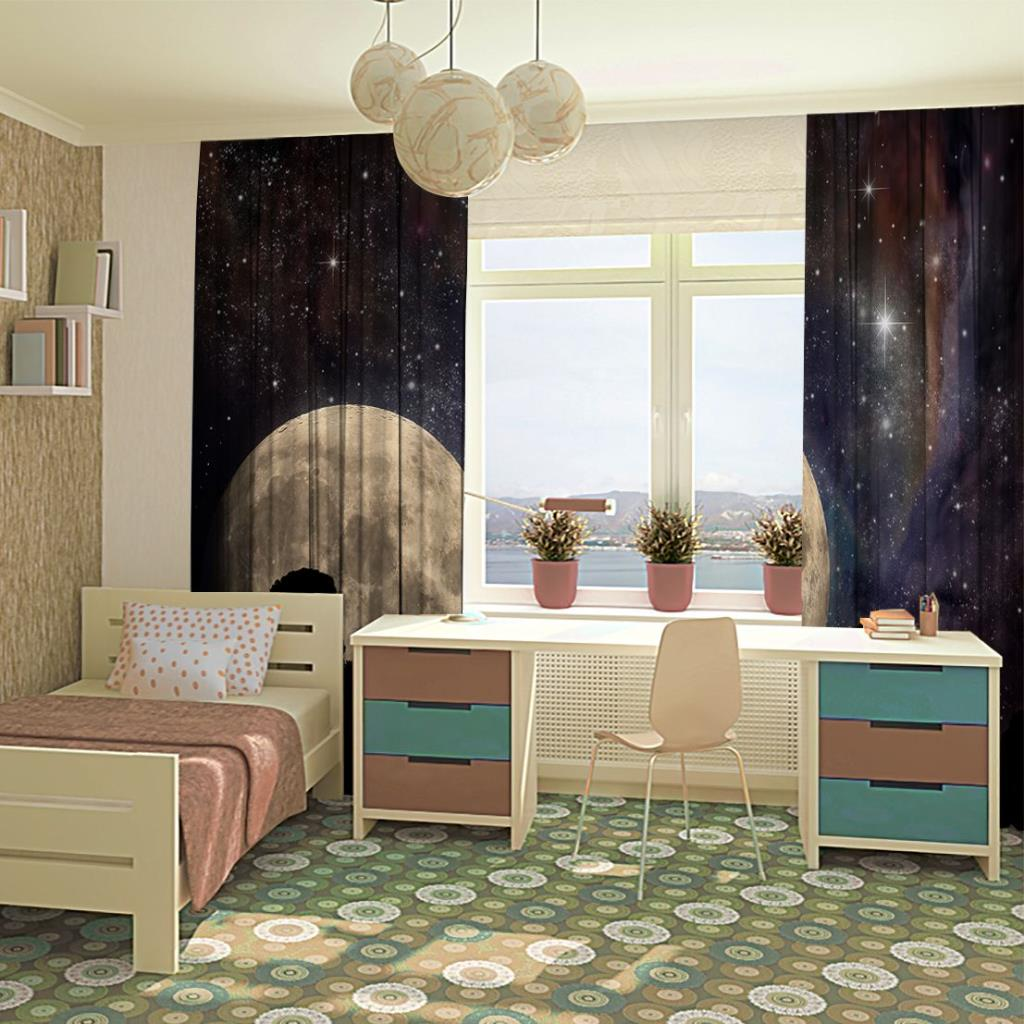 baskılı fon perde ay ve ağaçlar ile gece gökyüzü desenli