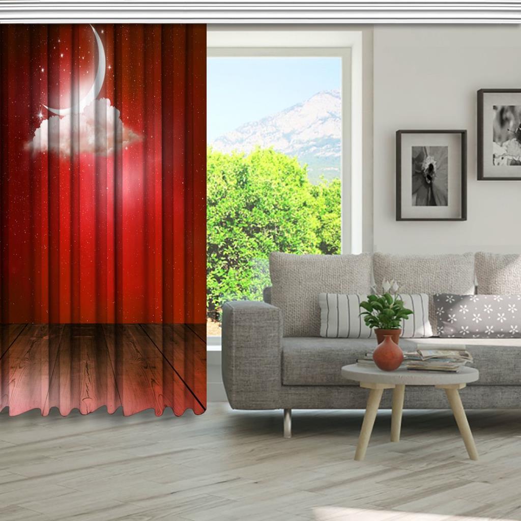 baskılı fon perde ay ve bulut etkili kırmızı renk desenli