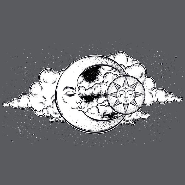 baskılı fon perde ay ve güneş etkili bulut arka plan desenli