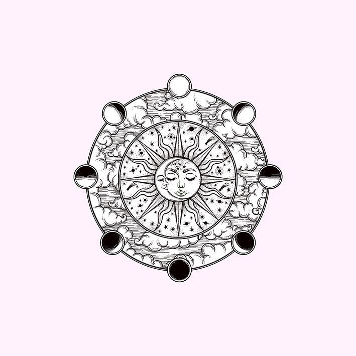 baskılı fon perde ay ve güneş etkili pembe arka plan desenli