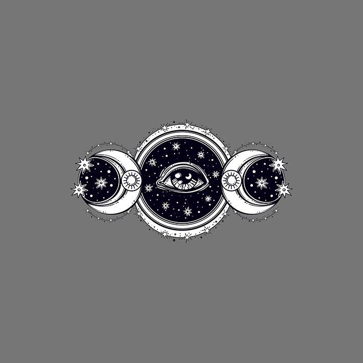 baskılı fon perde ay ve yıldız etkili gri arka plan desenli