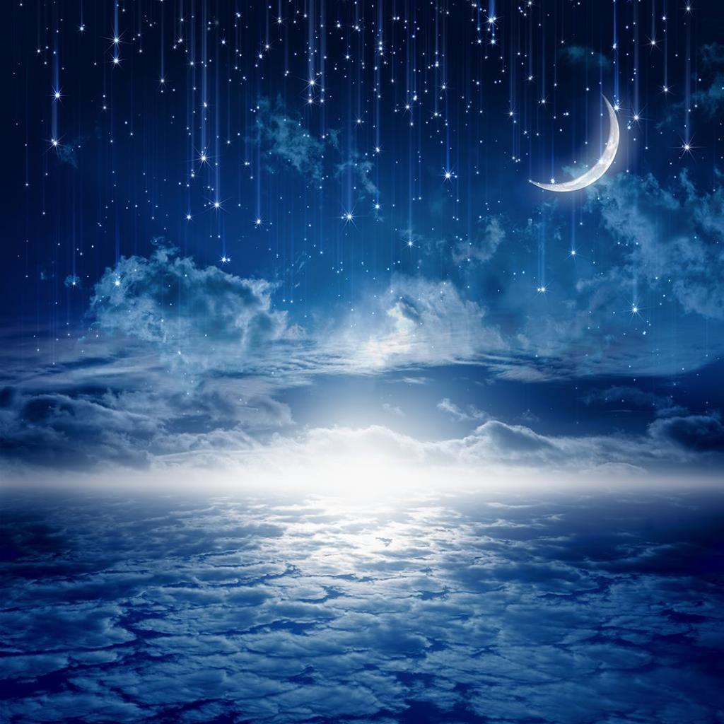 baskılı fon perde ay ve yıldız ile bulutlu gece gökyüzü desenli