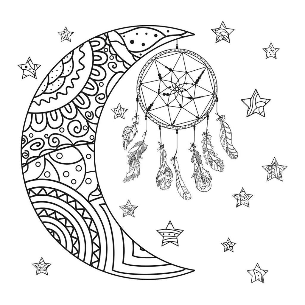baskılı fon perde ay yıldız kuş tüyü desenli siyah beyaz