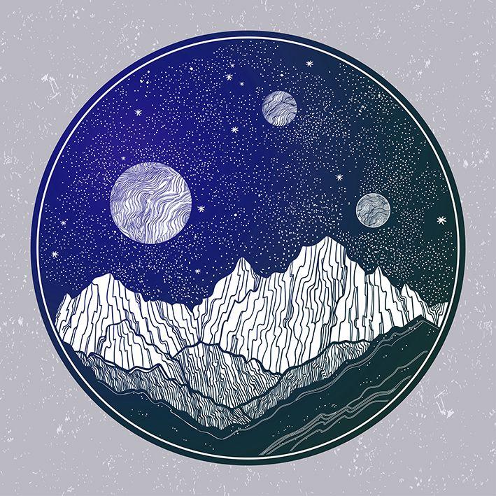 baskılı fon perde ay, yıldız ve dağ etkili mor ve yeşil renk desenli