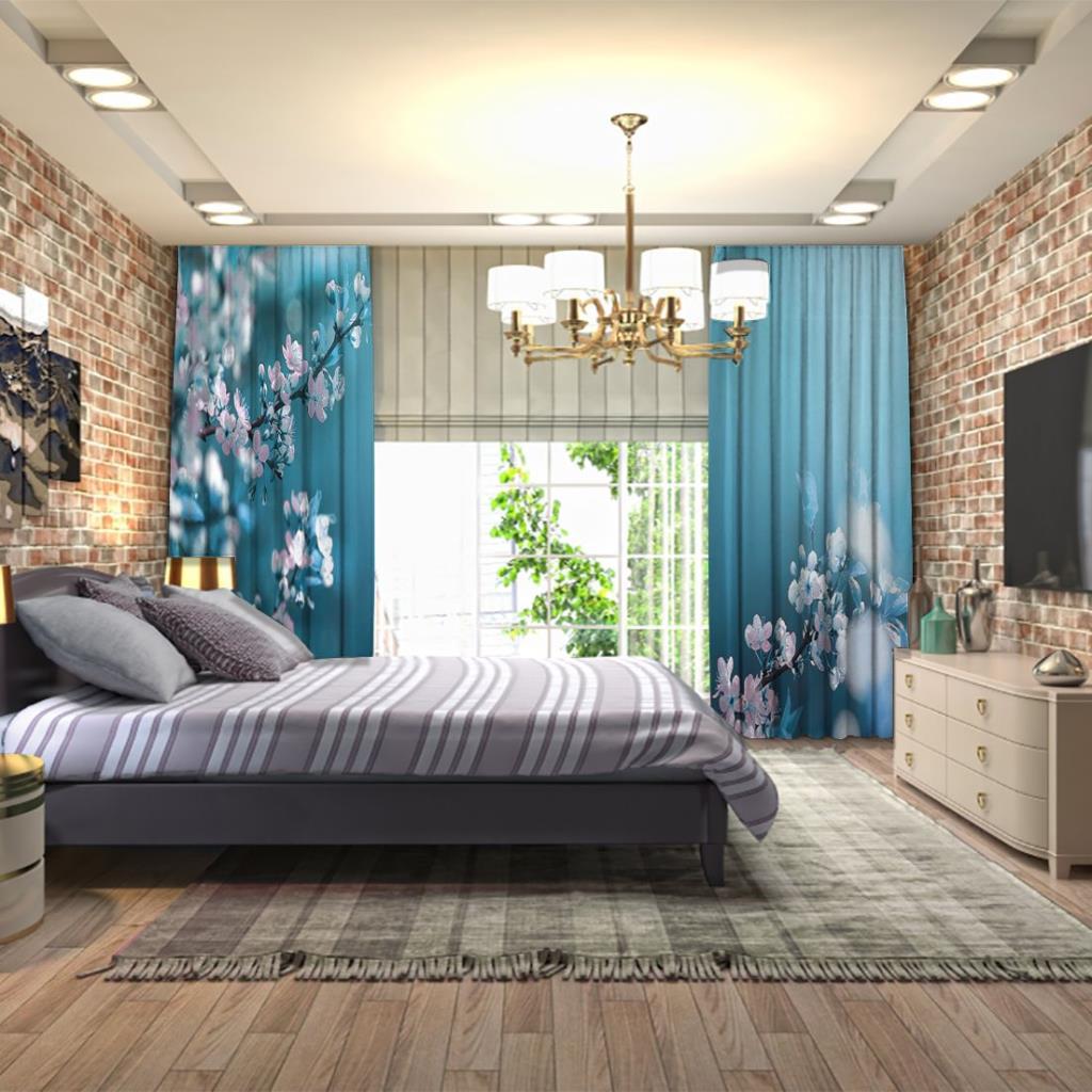 baskılı fon perde bahar manzaralı mavi ve pembe tonlu çiçek desenli