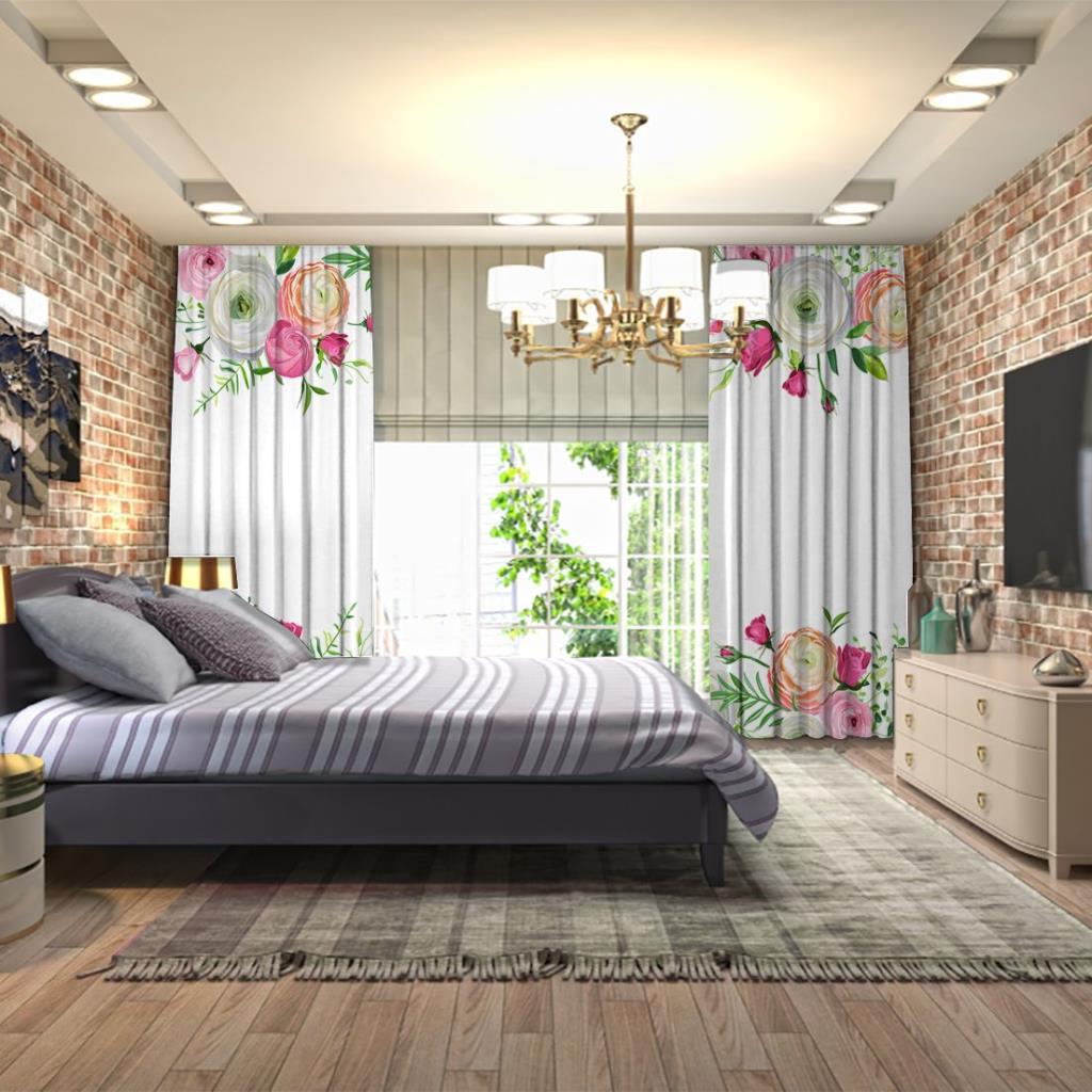baskılı fon perde bahar yaz çiçek desenli pembe beyaz