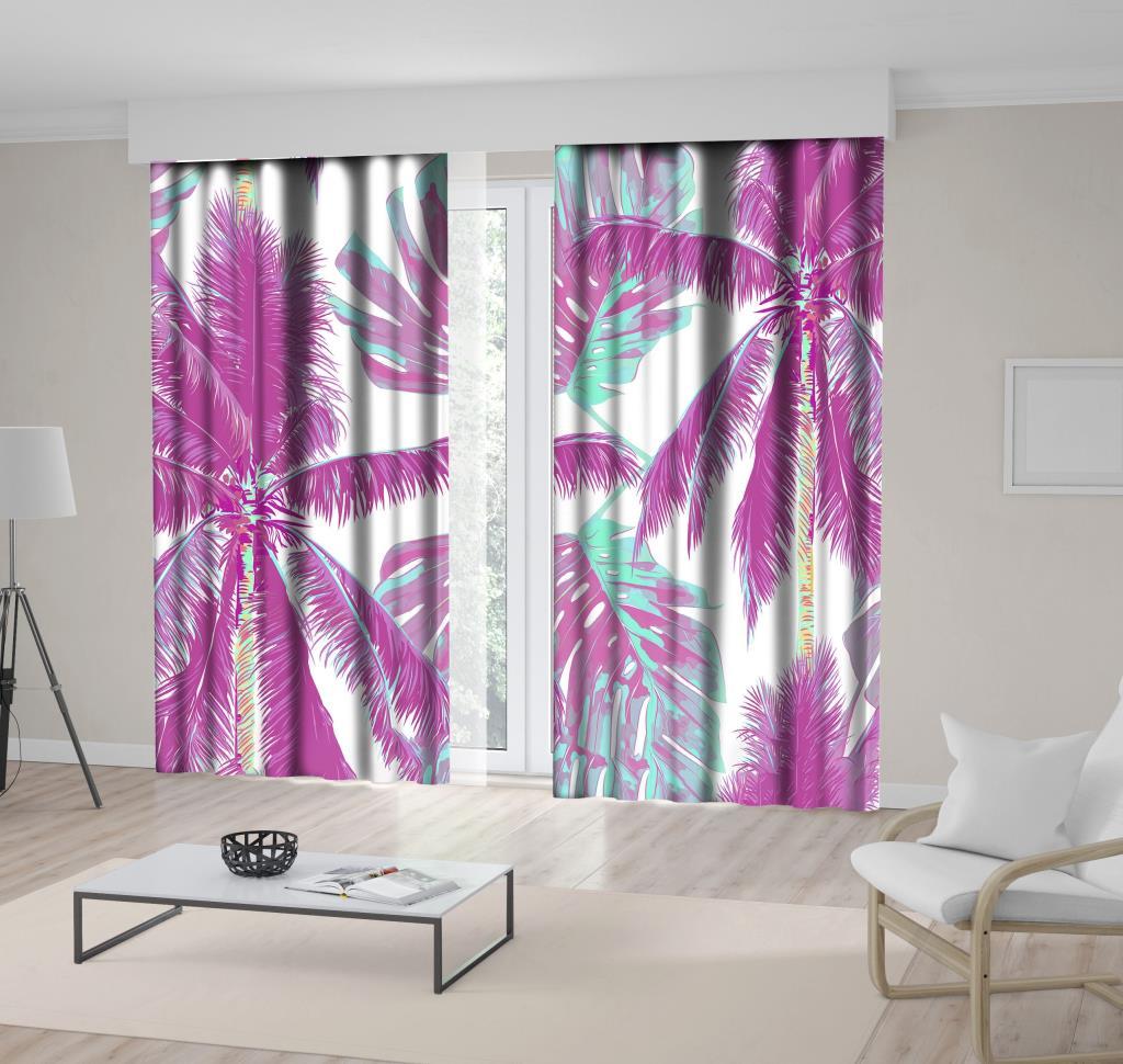 baskılı fon perde beyaz arka plan etkili pembe ve turkuaz palmiye desenli