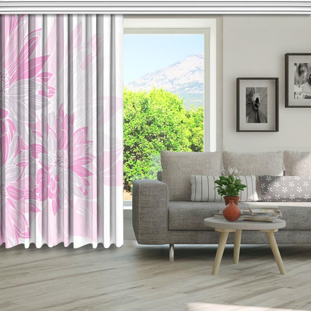 baskılı fon perde beyaz arka plan görünümlü pembe çiçek desenli