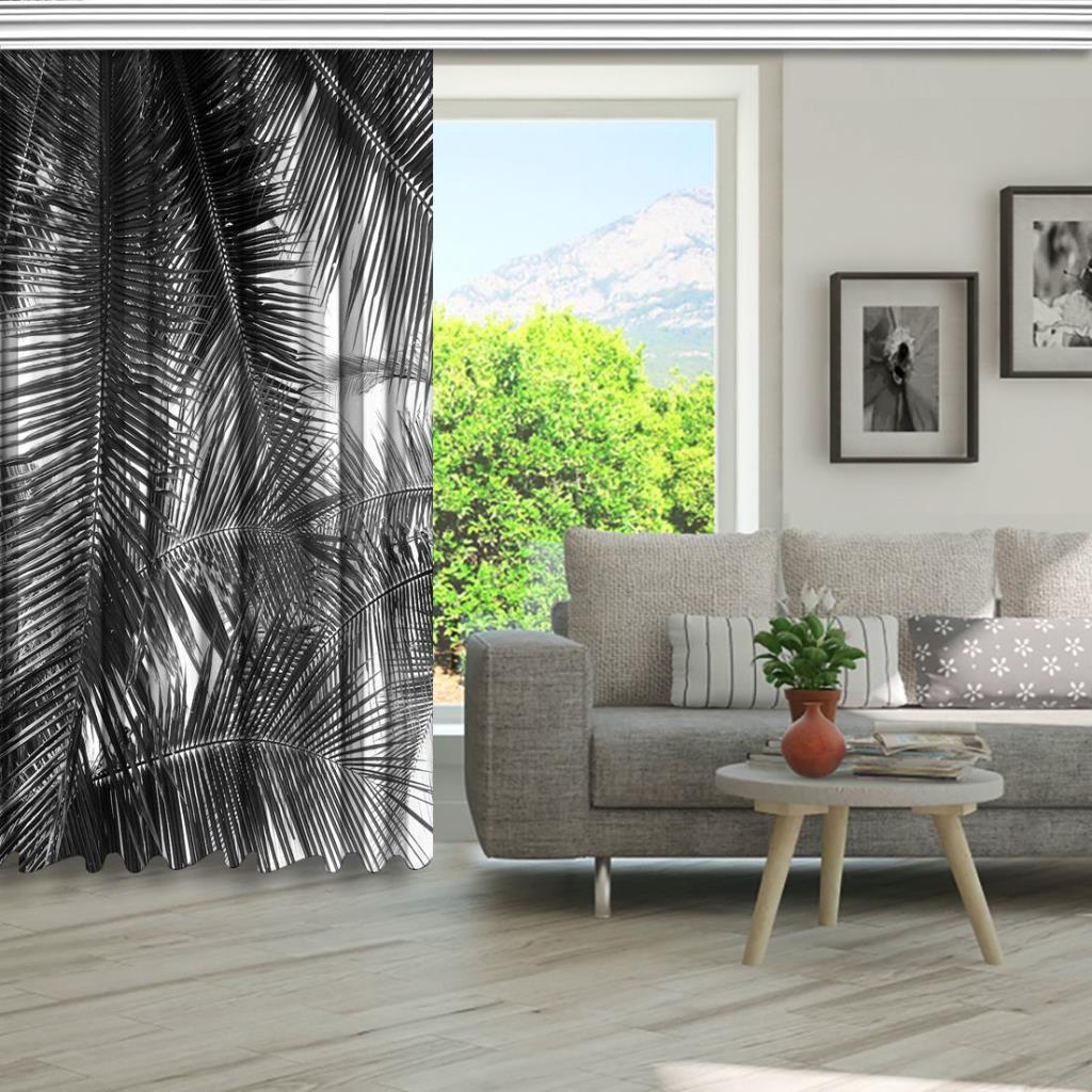 baskılı fon perde beyaz arka plan güzel avuç içi yaprak desenli