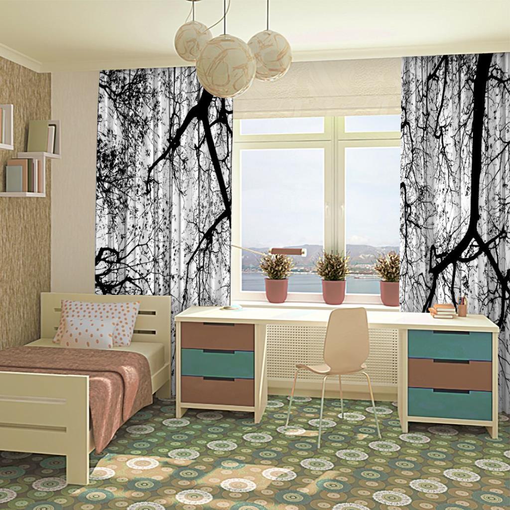 baskılı fon perde beyaz arka plan üzerinde ağaçların soyut siluet.