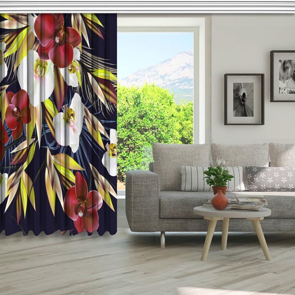 baskılı fon perde beyaz bordo yapraklı orkide buket desenli
