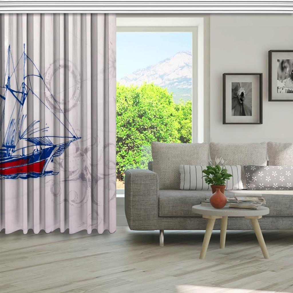 baskılı fon perde beyaz dalga ahtapot kırmızı gemi desenli