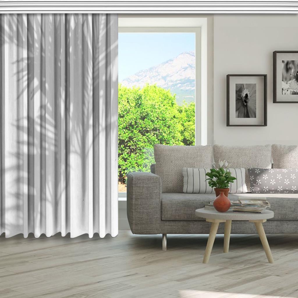 baskılı fon perde beyaz duvar yaprak gölge desenli