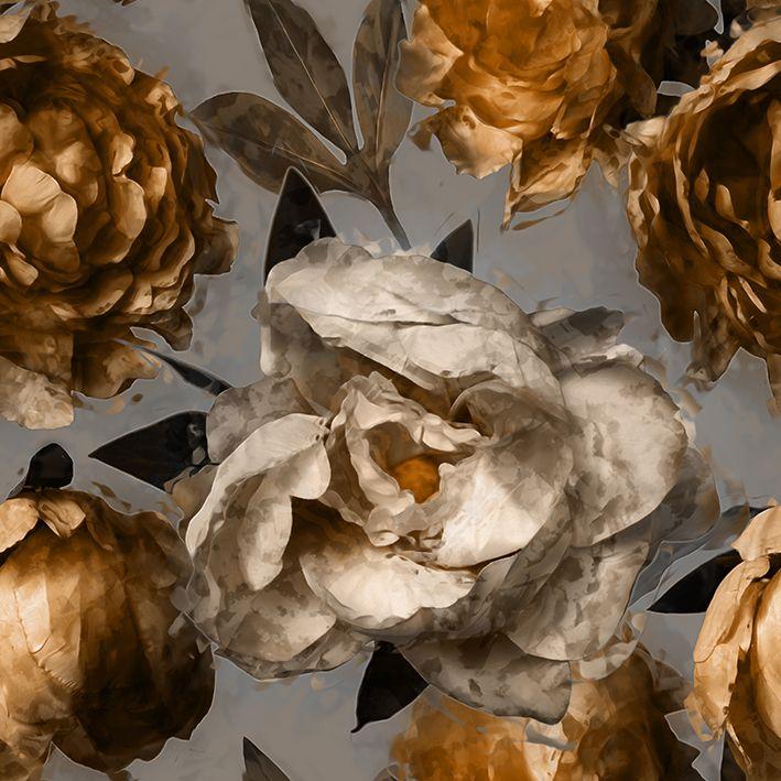 baskılı fon perde beyaz ve altın renkli çiçek desenli