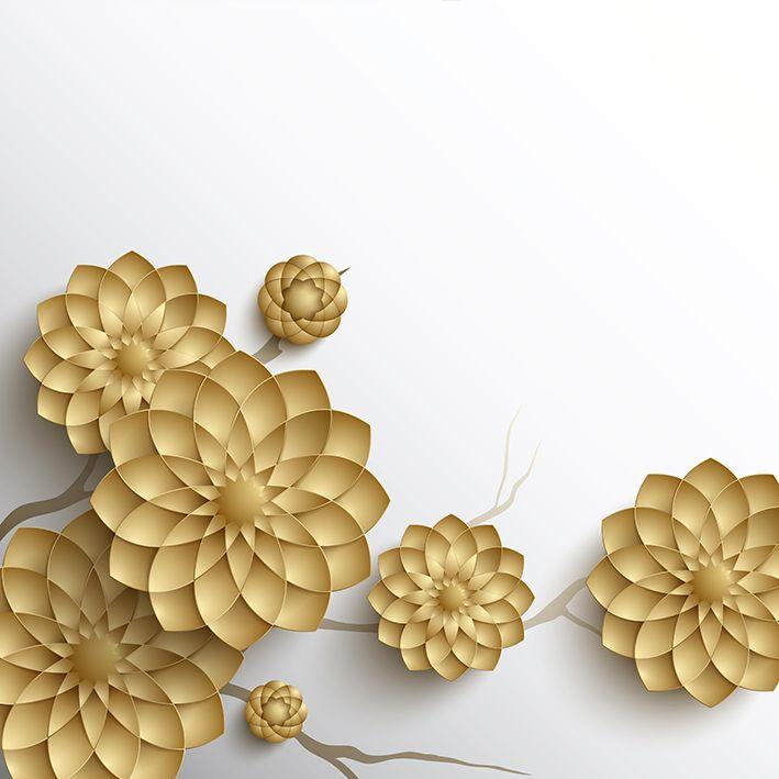 baskılı fon perde beyaz zemin üzerinde altın çicek desenli