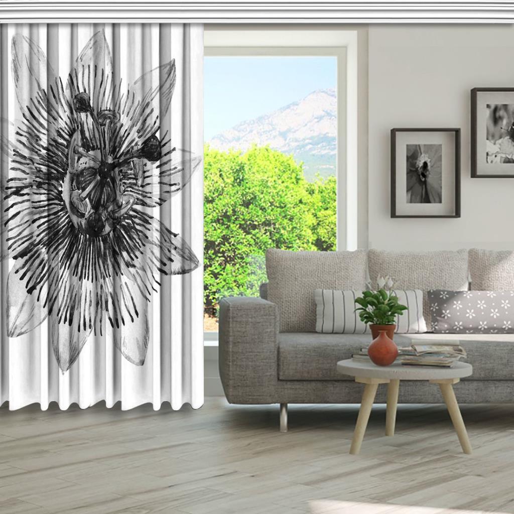 baskılı fon perde beyaz zemin üzerine çarkıfelek çiçek silüet desenli