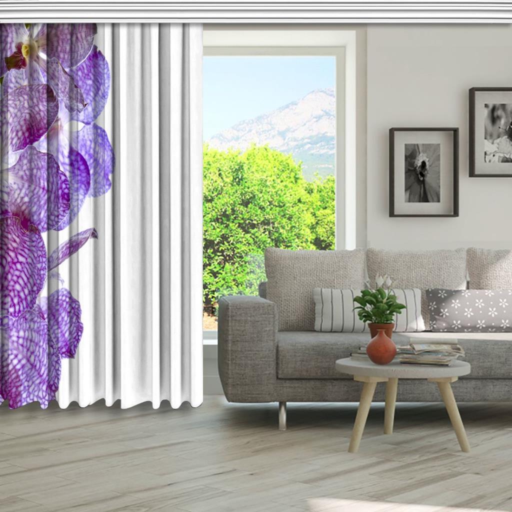 baskılı fon perde beyaz zemin üzerine mor zebra orkide desenli
