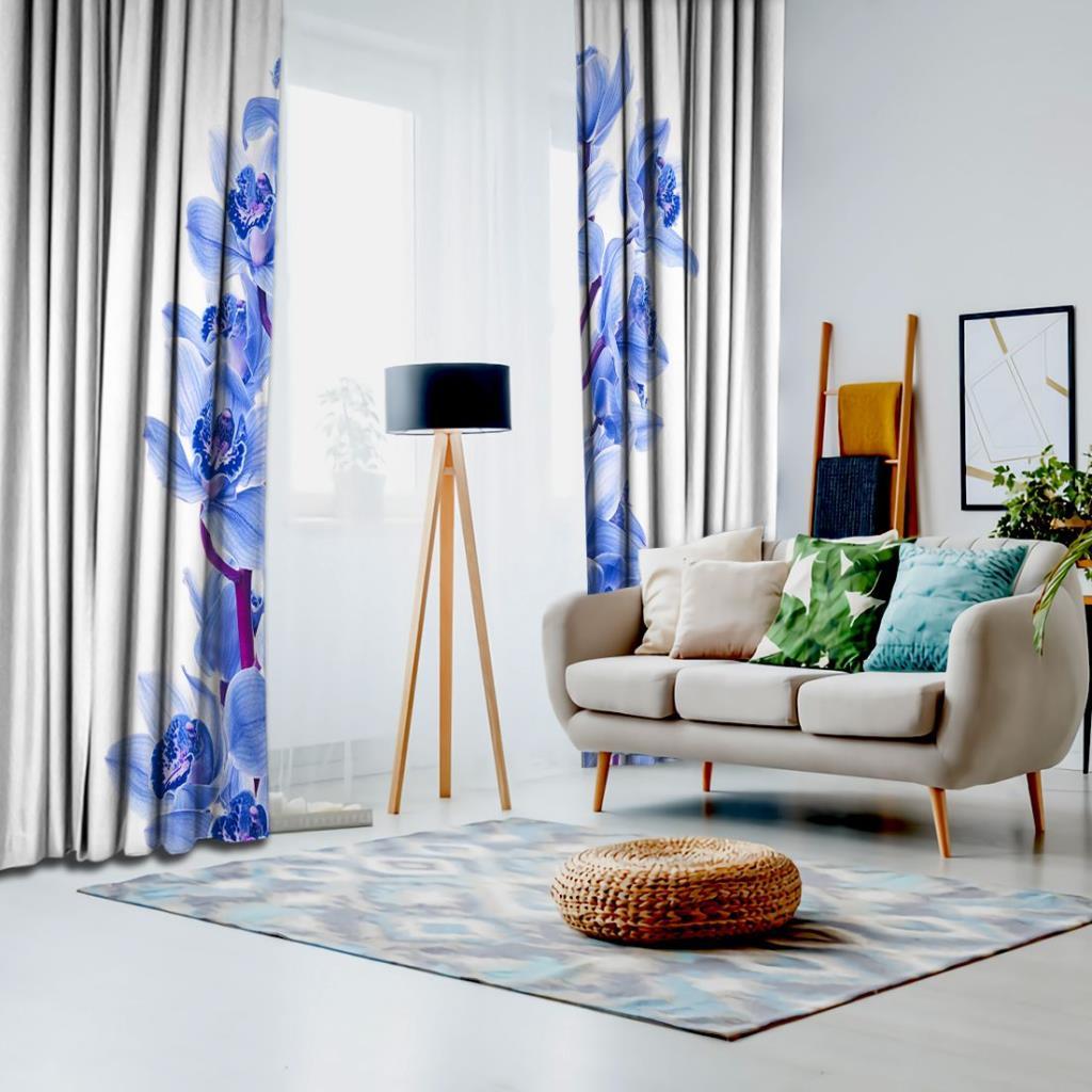 baskılı fon perde beyaz zemin üzerine ortada dallı mavi orkide desenli
