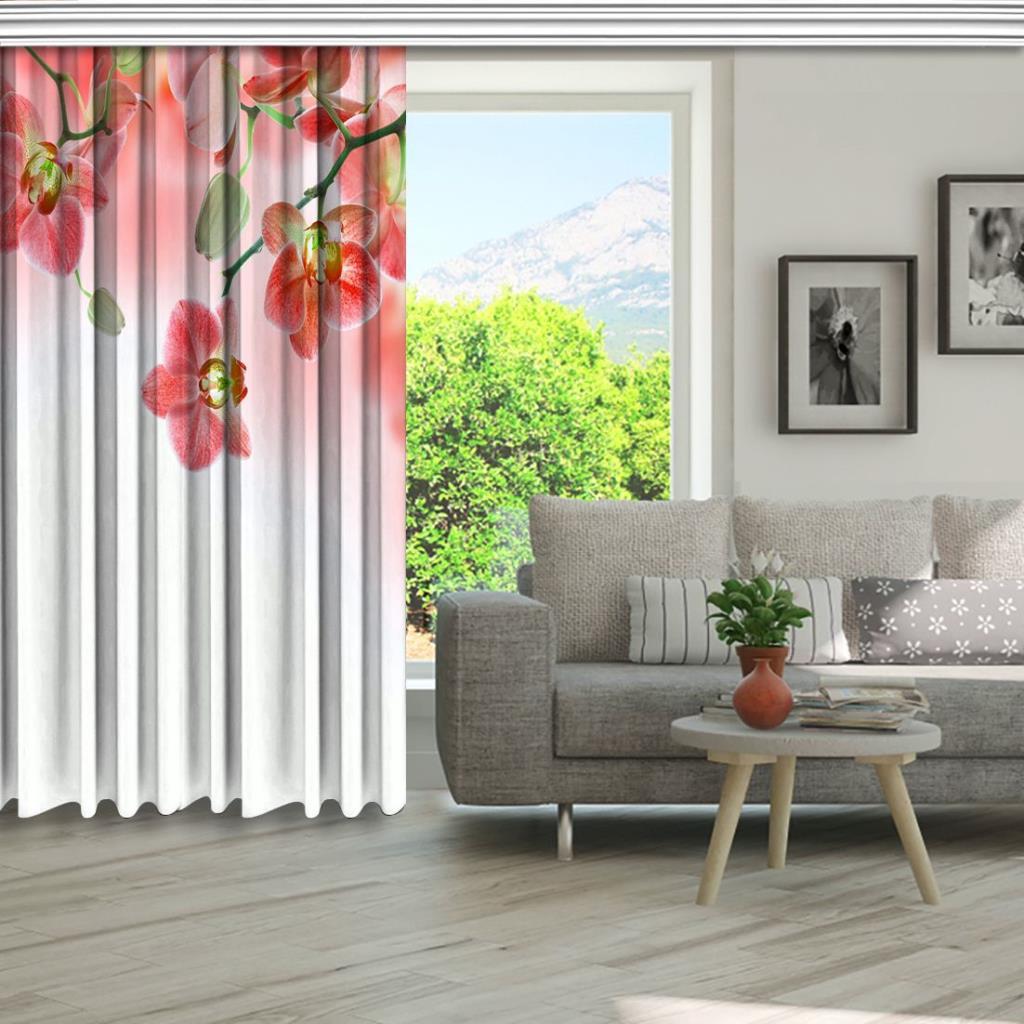 baskılı fon perde beyaz zemin üzerine pembe renkli orkide desenli