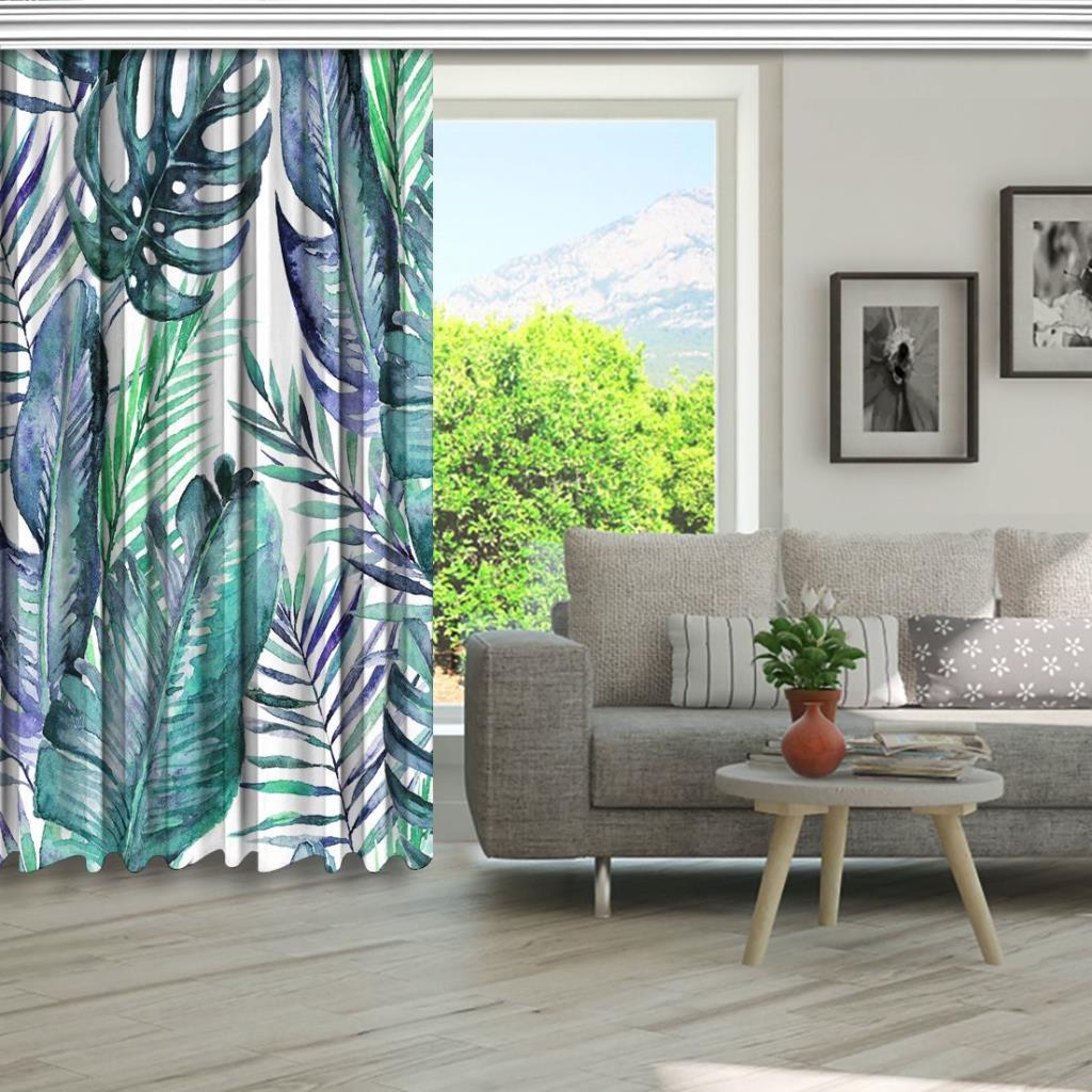 baskılı fon perde beyaz zeminli çeşitli tropik yaprak desenli