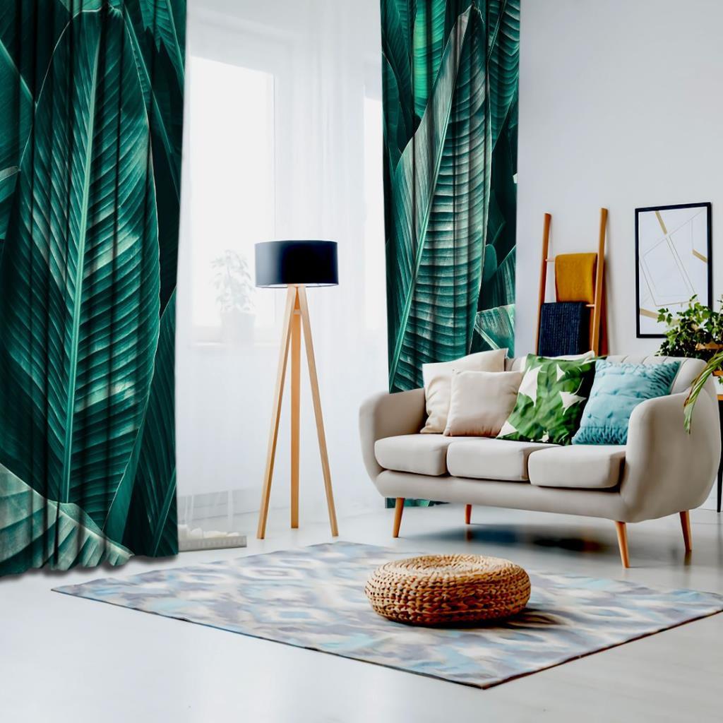 baskılı fon perde birleşmiş koyu yeşil renkte palmiye desenli