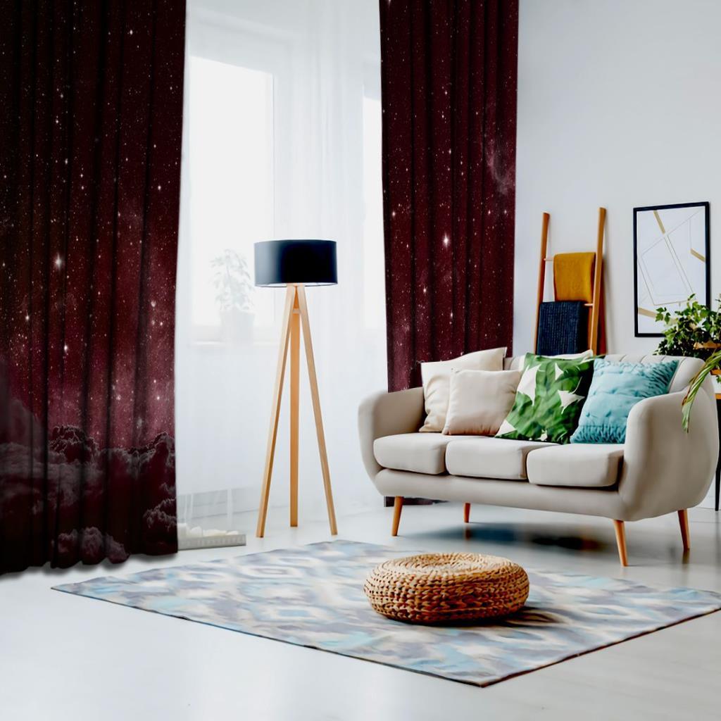 baskılı fon perde bordo, siyah ve beyaz renkli bulut ve yıldız desenli