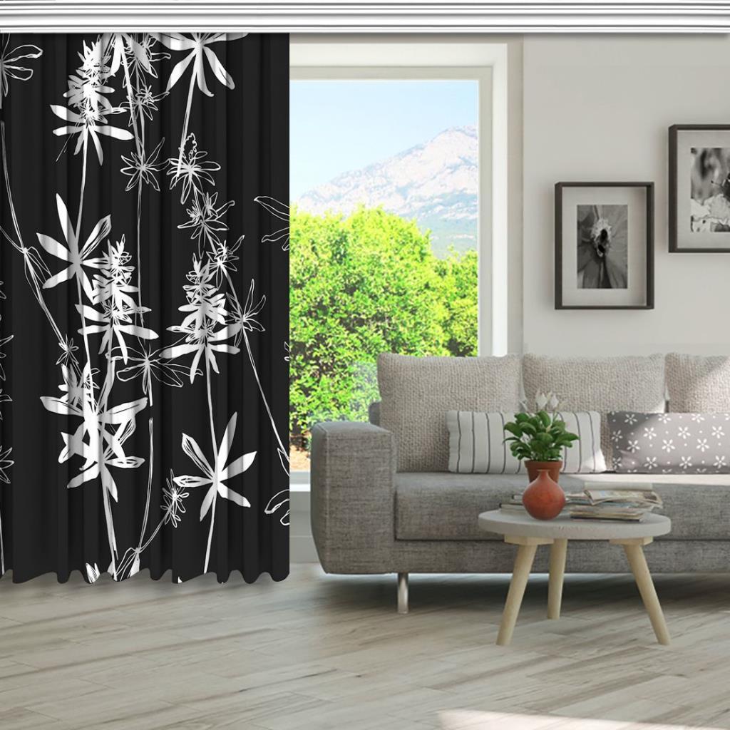 baskılı fon perde botanik çiçek siyah slüetli desenli