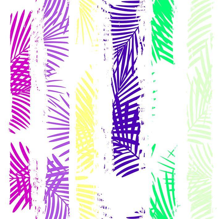 baskılı fon perde boya hatları üzerine palmiye yaprakları desenli