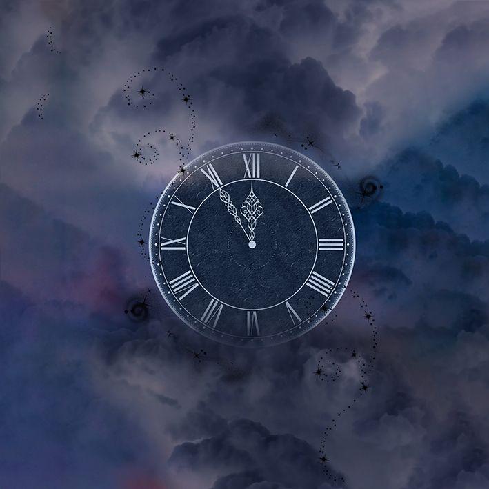 baskılı fon perde bulut gökyüzü saat görsel desenli