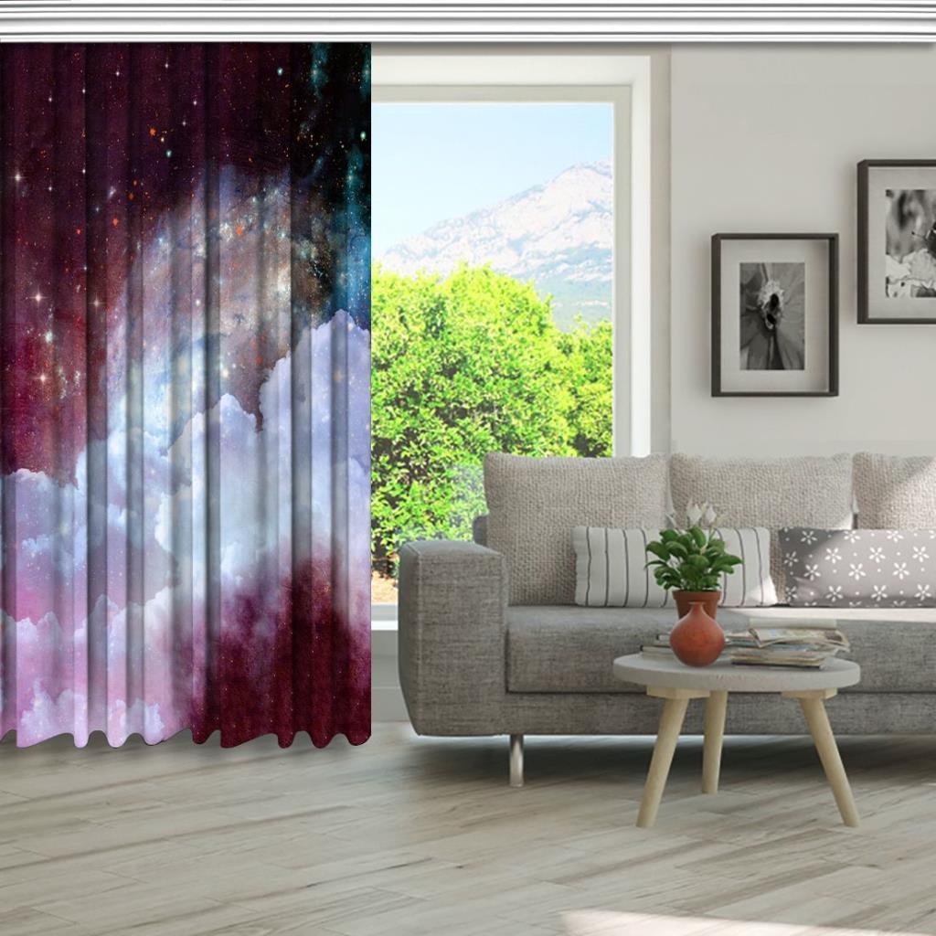 baskılı fon perde bulut gökyüzü yıldız desenli mor beyaz