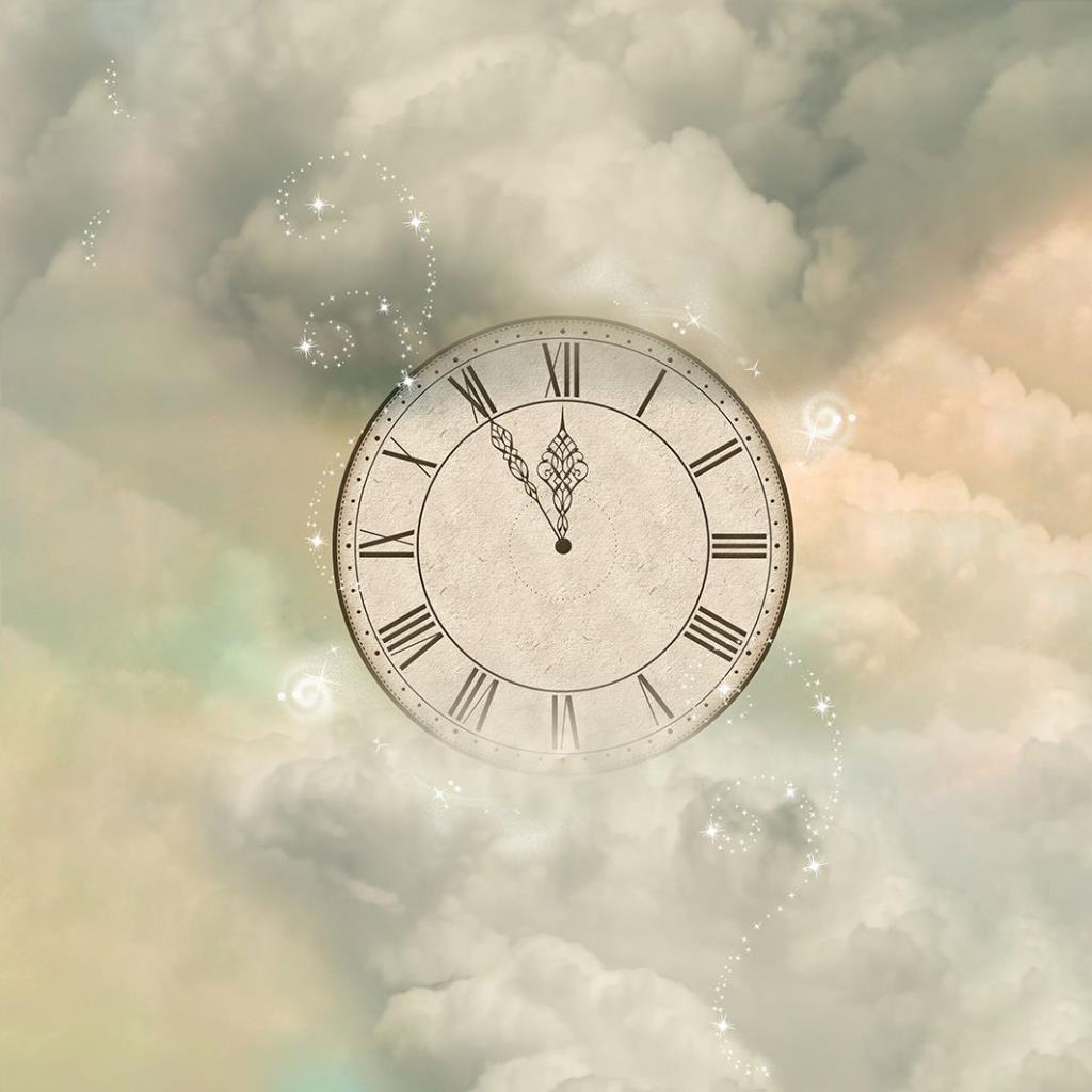 baskılı fon perde bulut ışıltı saat desenli krem