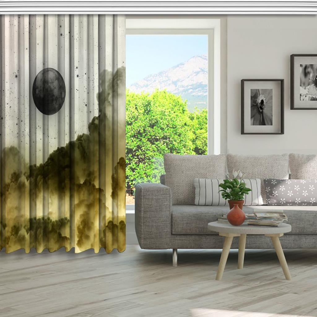 baskılı fon perde bulut ve dolunay etkili kirli beyaz desenli