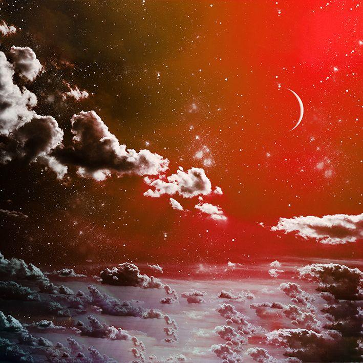 baskılı fon perde bulut ve yarım ay desenli kırmızı ton desenli