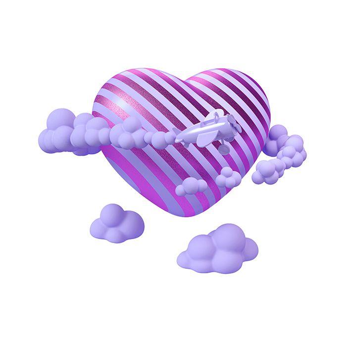 baskılı fon perde bulutlardan oluşan çizgili fuşya kalp desenli