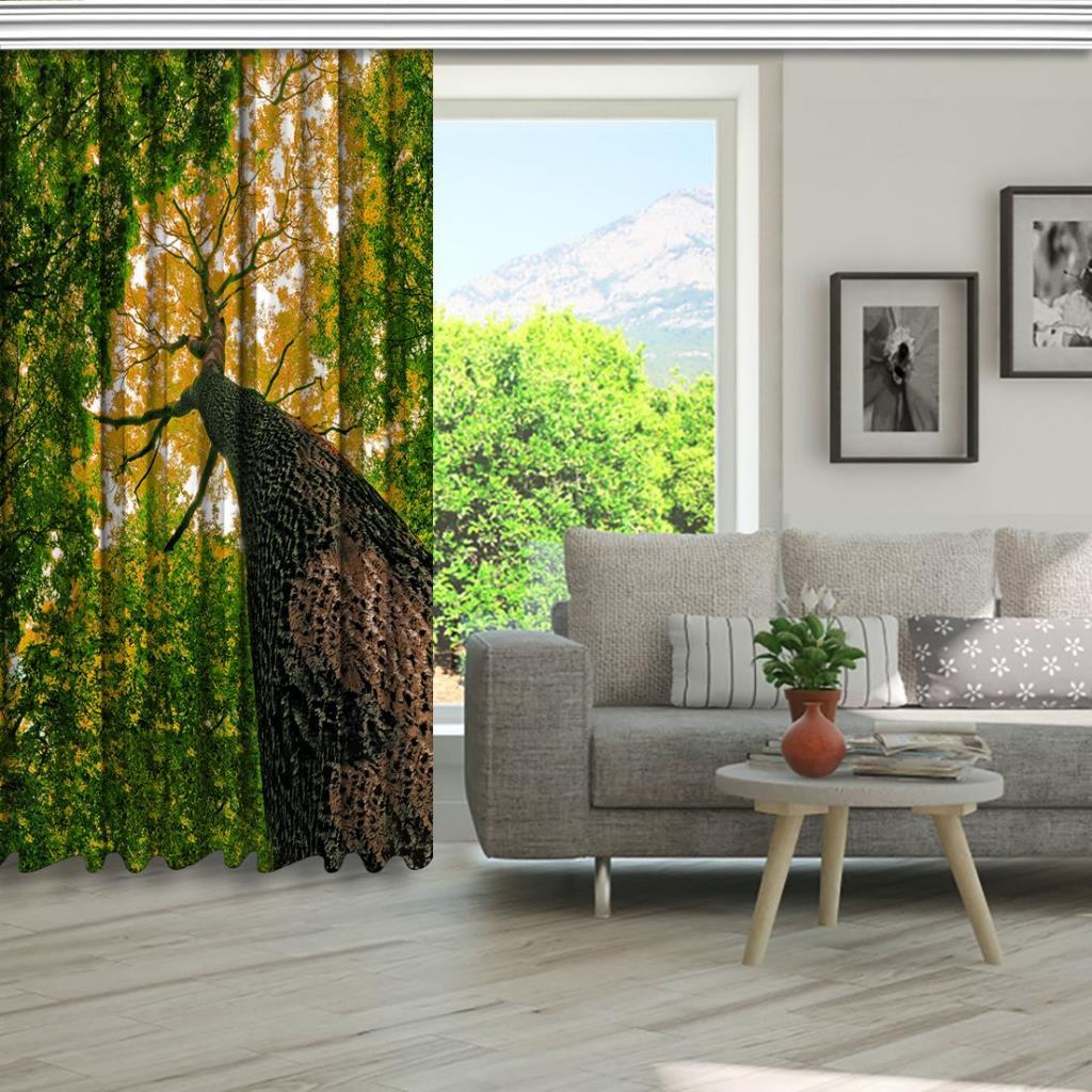 baskılı fon perde büyük gövdeli ağaç yaprak desenli yeşil