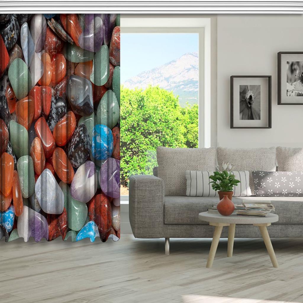 baskılı fon perde büyük kiremit mint ve gri renkli doğal taş desenli